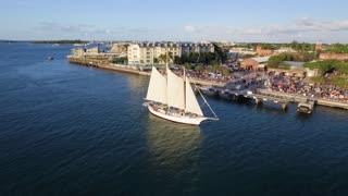 Large Sailboat Passes Resort
