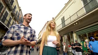 Laughing Couple On French Quarter Street, New Orleans (360)
