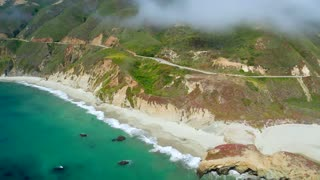 Looking Down at a Beach in Big Sur