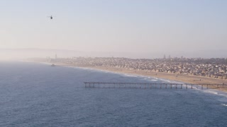 Los Angeles Pier and Beach by Aerial Drone