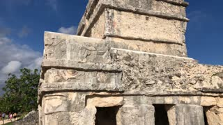 Mayan Temple Of The Descending Gods Ruin Tracking Shot