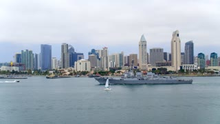 Military Ship in Front of Downtown San Diego