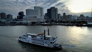 New Orleans Riverboat Along Skyline