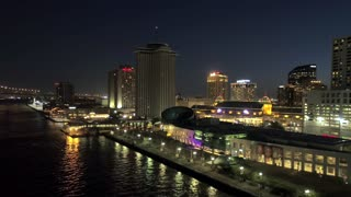 New Orleans Skyline at Night, Mississippi River, Drone Shot