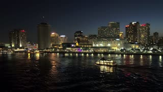 New Orleans Skyline at Night, Riverboat on Mississippi River