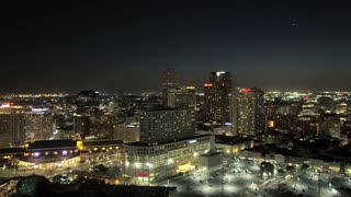 New Orleans Skyline, Buildings at Night (Drone)