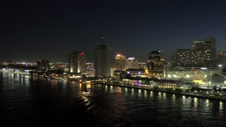 New Orleans Skyline, Riverboat on Mississippi River (Night)