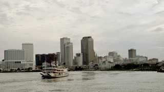 New Orleans Skyline, Riverboat on River