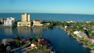 Resorts on Ocean Front and Marina Strip by Aerial Drone