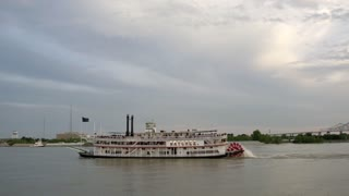 Riverboat on Mississippi River, New Orleans Skyline and Sunset