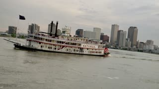 Riverboat on Mississippi River, New Orleans Skyline in Distance