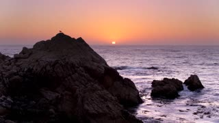 Rocky Beach at Sunset by Aerial Drone