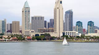 Sailboat in Front of Downtown San Diego