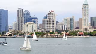 Sailboats in Front of Downtown San Diego