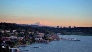 Seattle Neighborhood with Mount Rainier in the Background by Aerial Drone