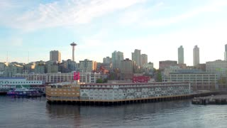 Shot of Seattle Skyline at Sunset by Aerial Drone