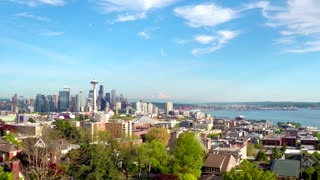 Shot of Seattle Skyline by Aerial Drone