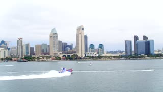Speedboat in Front of Downtown San Diego