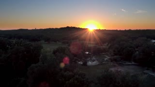 Sunset Over Small Town in Texas