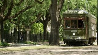 Vintage Streetcar in New Orleans Neighborhood