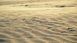 Wind Blowing Over Sand at Sunset Tracking Shot
