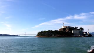View of Alcatraz from a boat on San Francisco Bay