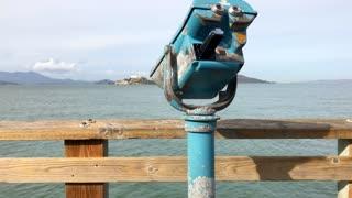 Viewfinder facing Alcatraz from San Francisco bay