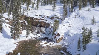 Waterfall and stream in a snow covered forest 2