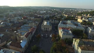 Aerial Old City Lviv, Ukraine. Central part of old city. European City. Densely populated areas of the city. Lviv Opera