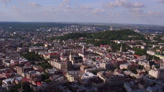 Aerial Old City Lviv, Ukraine. Central part of old city. European City. Densely populated areas of the city. Town hall. Lviv central 4k ultrahd