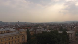Aerial Old City Lviv, Ukraine. Central part of old city. European City. Densely populated areas of the city. Town hall. Lviv central 4k