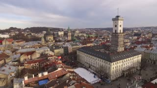 Aerial Old City Lviv, Ukraine. Central part of old city. European City. Densely populated areas of the city. Town hall. Lviv central. New year