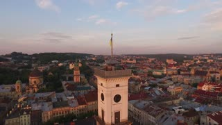 Aerial Old City Lviv, Ukraine. Central part of old city. European City. Densely populated areas of the city. Town hall. Lviv central. Ratush