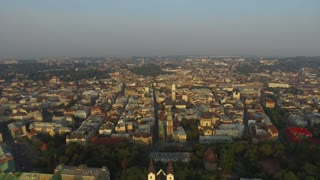 Aerial Old City Lviv, Ukraine. Central part of old city. European City. Densely populated areas of the city. Town hall