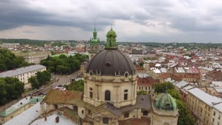 Aerial Old City Lviv, Ukraine. Central part of old city. European City. Lviv morning roofs aerial view, Ukraine Dominican ultrahd 4k