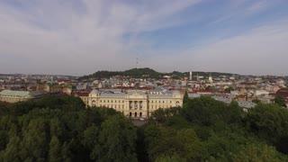 Aerial Old City Lviv, Ukraine. Central part of old city. European City. The Ivan Franko National University of Lviv