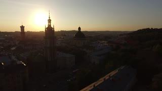 Aerial Old City Lviv, Ukraine. Central part of old city. European City