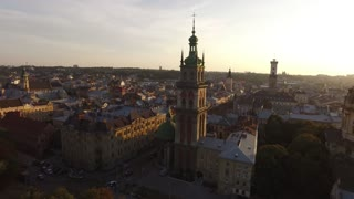 Aerial Old City Lviv, Ukraine. European City. Densely populated areas of the city. Sunny