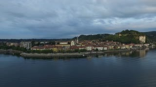 Aerial Photography of old buildings in Italy and the morning beautiful place Arona