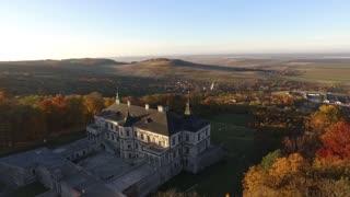 Aerial Video in Pidhirtsi castle. Ukraine. Zolochiv