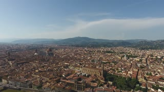 Aerial view Beautiful Cityscape of Florence with the Cathedral Santa Maria del Fiore, Florence, Tuscany, Italy. 4K Aerial shot