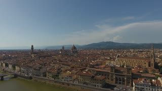 Aerial view Beautiful Cityscape of Florence with the Cathedral Santa Maria del Fiore, Florence, Tuscany, Italy. 4K Aerial video panoramic