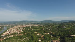 Aerial view Beautiful Cityscape of Florence with the Cathedral Santa Maria del Fiore, Florence, Tuscany, Italy. 4K Aerial video with panoramic motion
