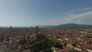 Aerial view Beautiful Cityscape of Florence with the Cathedral Santa Maria del Fiore, Florence, Tuscany, Italy. 4K Aerial video