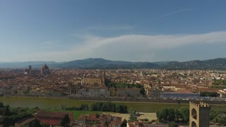 Aerial view Beautiful Cityscape of Florence with the Cathedral Santa Maria del Fiore, Florence, Tuscany, Italy. 4K Aerial vVdeo with Panoramic Shot