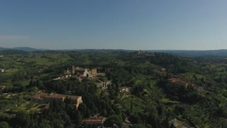 Aerial view Beautiful Cityscape of Florence with the Cathedral Santa Maria del Fiore, Florence, Tuscany, Italy. Aerial Motion. 4K
