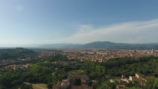 Aerial view Beautiful Cityscape of Florence with the Villa Cora, Florence, Italy. 4K shot