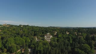 Aerial view Beautiful Cityscape of Florence with the Villa Cora, Florence, Italy. 4K video
