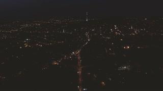 Aerial view Night Old City Lviv