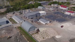 Aerial view Plant for the Production of Paving, Paving Slabs in 4k UHD